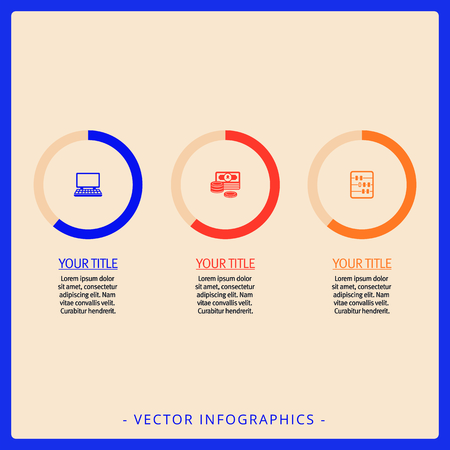 titles: Editable infographic template of three doughnut charts. with icons, titles and sample text, multicolored version