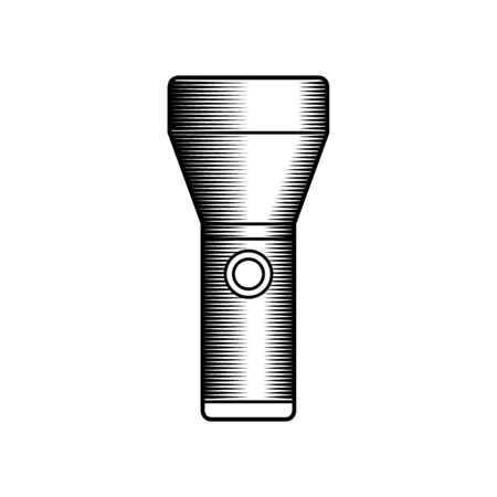 portative: Engraving illustration of flashlight isolated on white background, monochrome version
