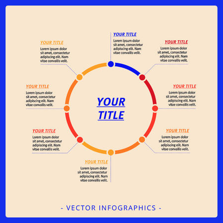 Editable infographic template of process chart with titles and sample text, multicolored version