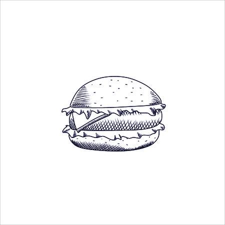 meat food: Engraving vector illustration of big hamburger on white background Illustration