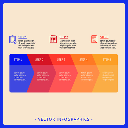 design process: Editable infographic template of five step diagram with icons, titles and sample text Illustration