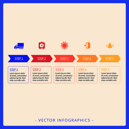 titles: Editable infographic template of five step diagram with icons, titles and sample text in squares