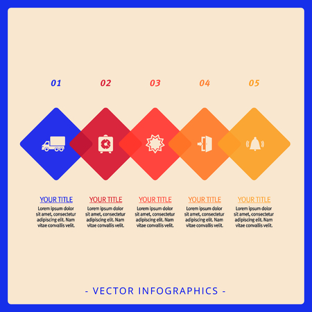 titles: Editable template of five step process chart with icons, titles and sample text Illustration