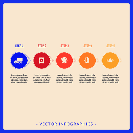titles: Editable infographic template of five step process chart with icons, titles and sample text