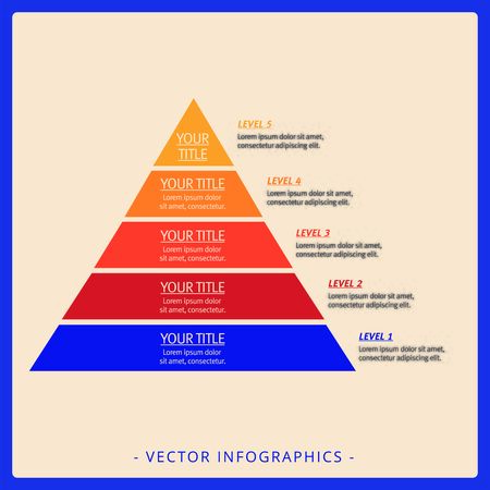levels: Editable template of simple stacked pyramid chart including five floors with titles and sample text, multicolored version Illustration