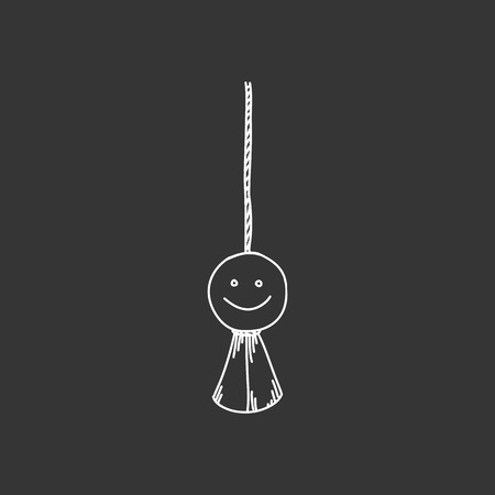 hanged: Engraving illustration of hanged doll, traditional Japanese amulet isolated on black background