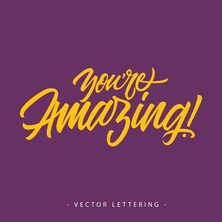 amazing: Yellow you are amazing inscription with exclamation mark isolated on purple background Illustration