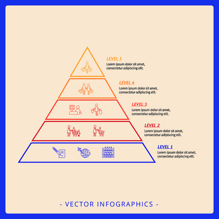 stacked: Editable infographic template of five level stacked pyramid chart with icons, titles and sample text, multicolored version