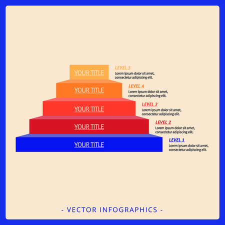 titles: Editable infographic template of stacked pyramid chart with five levels, titles and sample text, multicolored version