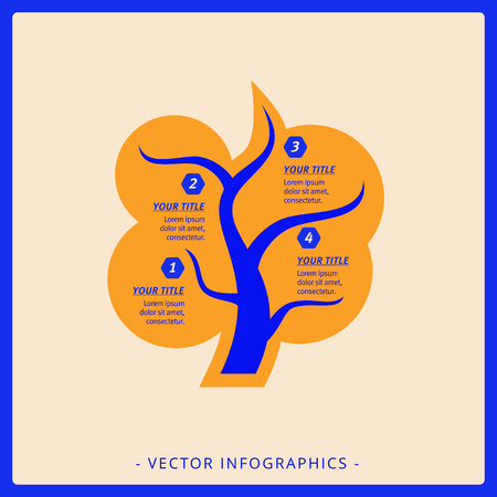 diagrama de arbol: infografía plantilla editable de diagrama de árbol con títulos y textos de muestra, la versión multicolor