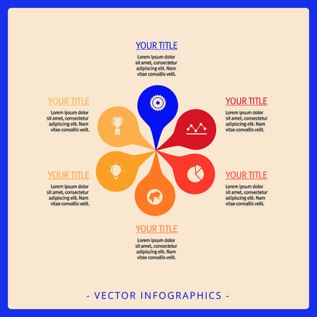 sectors: Editable multicolored petal diagram with six sectors, icons and sample text on beige background Illustration