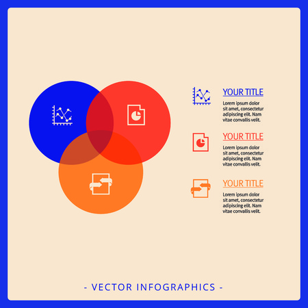 titles: Editable infographic template of Venn diagram with icons, titles and sample text, multicolored version