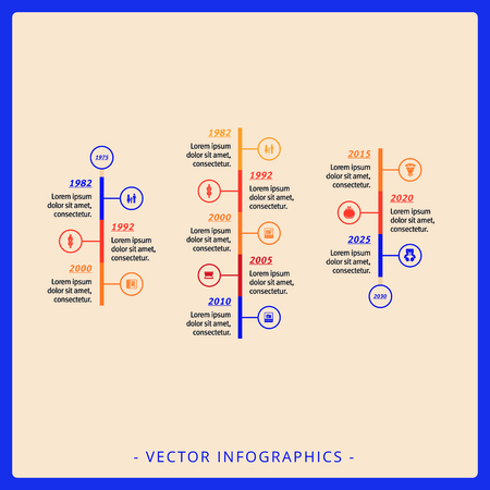three points: Editable infographic template of three vertical timeline diagrams with icons and sample text, multicolored version Illustration