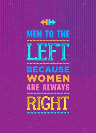 여자는 항상 보라색 배경에 고립 된 권리 비문이기 때문에 왼쪽에 남자 벡터 (일러스트)