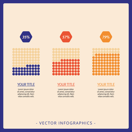 titles: Editable template of bar chart presenting three cubes with percent marks, titles and sample text, multicolored version Illustration