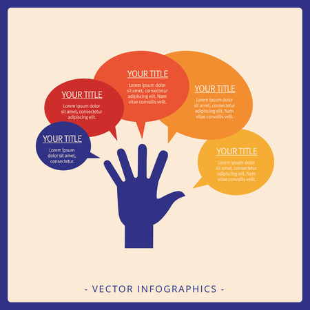 Editable infographic template of hand diagram with five speech bubbles, multicolored version Illustration