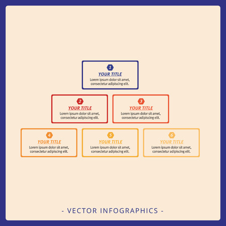 titles: Editable template of stacked pyramid chart with six blocks, titles and sample text, multicolored version Illustration