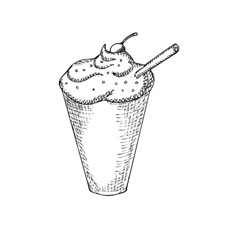 iced: Engraving illustration of glass of iced coffee with straw isolated on white background