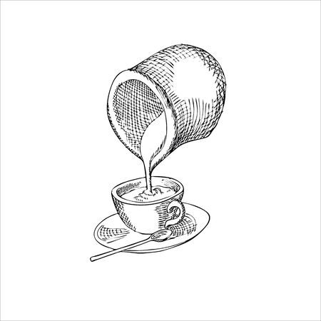 milk pouring: Engraving illustration of milk pouring from jug into cup of coffee isolated on white background
