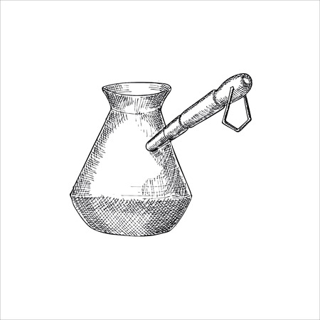 brewing: Engraving illustration of Turkish coffee brewing pot isolated on white background Illustration