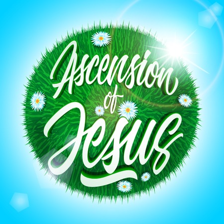 holy thursday: White ascension of Jesus inscription on green grass ball with flowers isolated on light blue background