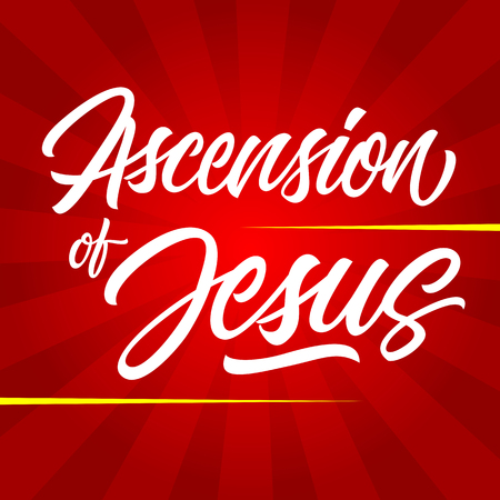 White ascension of Jesus inscription isolated on red sunburst background