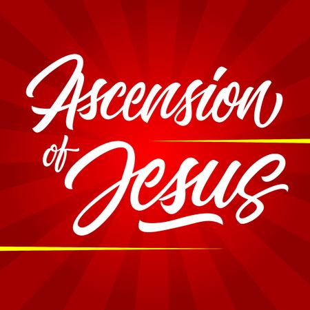 White hemelvaart van Jezus inscriptie geïsoleerd op rode Sunburst achtergrond Stockfoto - 54140377