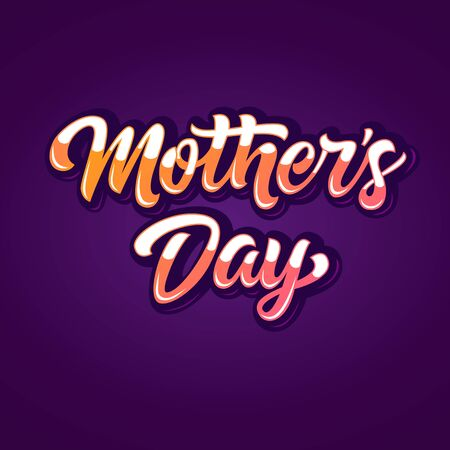 maternal: Bright two-colored glossy Mothers Day inscription on purple background Illustration