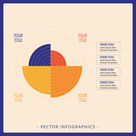 driven: Multicolored editable data driven polar chart template with four sectors on beige background