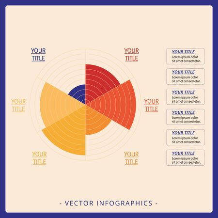 sectors: Multicolored editable data driven polar chart template with six sectors on beige background
