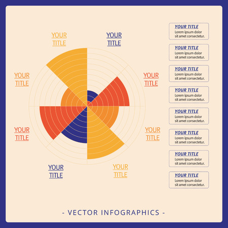 driven: Multicolored editable data driven polar chart template with eight sectors on beige background