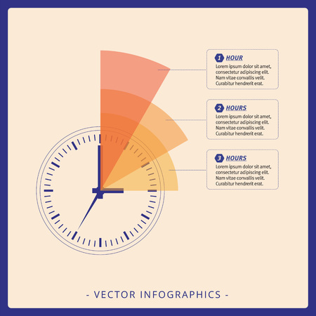 chronograph: Multicolored editable infographic template of dial chart on beige background