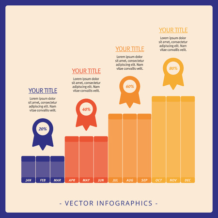 vertical bars: Editable template of vertical bar charts group with four vertical groups of bars and percent marks on beige background Illustration