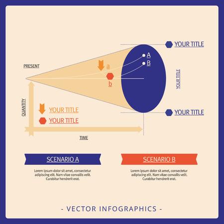 scenarios: Multicolored editable template for two business scenarios analysis Illustration