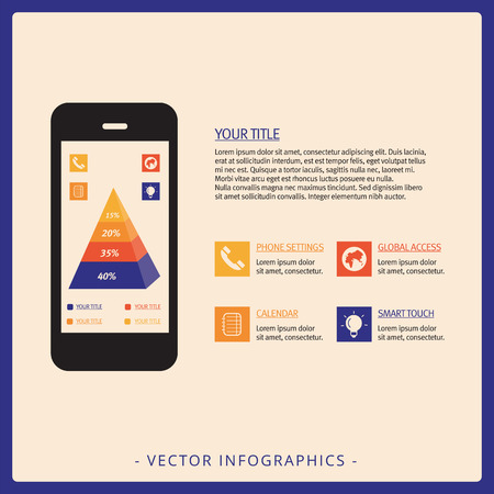 stacked: Editable infographic template representing stacked four level pyramid chart on screen of mobile phone, multicolored version Illustration
