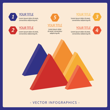 titles: Editable template of diagram including five triangles, titles and sample text, multicolored version Illustration