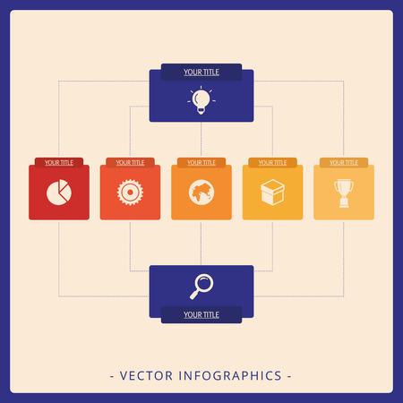 diagrama de arbol: plantilla editable de diagrama de �rbol vertical que incluye dos ra�ces y de una sola planta con iconos y t�tulos, versi�n multicolor