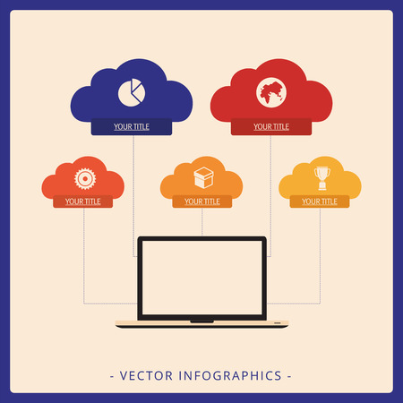 titles: Editable infographic template of vertical tree diagram including computer monitor as root and clouds with icons and titles as level