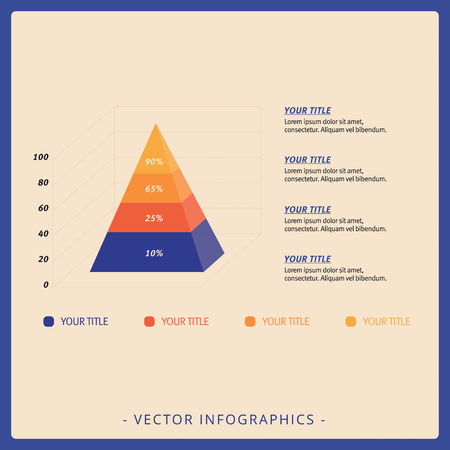titles: Editable template of stacked pyramid chart with four levels, titles and sample text, multicolored version