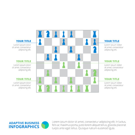 titles: Editable infographic template of chess board silhouette chart with titles and sample text, multicolored version Illustration