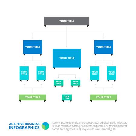 diagrama de arbol: plantilla editable de diagrama de árbol horizontal complejo que incluye la raíz y niveles, versión multicolor Vectores