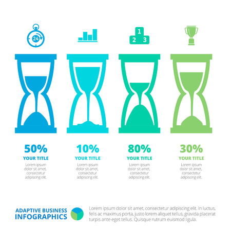 Editable infographic template of four hourglass diagrams with icons, percent marks, titles and sample text, multicolored version Illustration