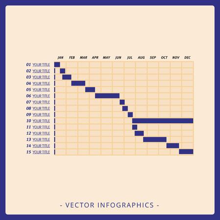 tabulation: Multicolored editable template for timeline Gantt chart on beige background Illustration