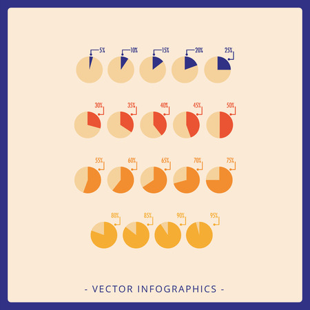 Multicolored vector template for Harvey balls flat diagram with different percentage Vettoriali