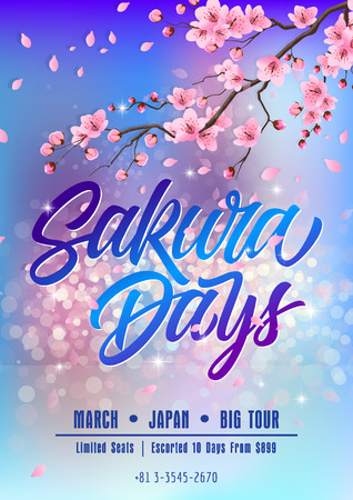 blooming: Sakura days poster template isolated on background with blooming sakura