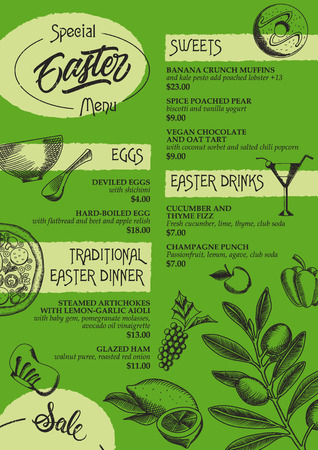 categories: Special Easter menu brochure with four categories. Design template, multicolored version