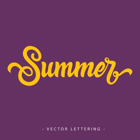 summer solstice: Bright yellow calligraphic Summer inscription on purple background