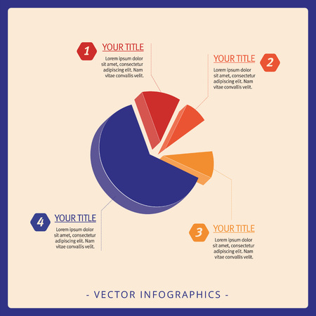 sectors: Multicolored editable template for 3d pie chart with sectors of different size and sample text on beige background