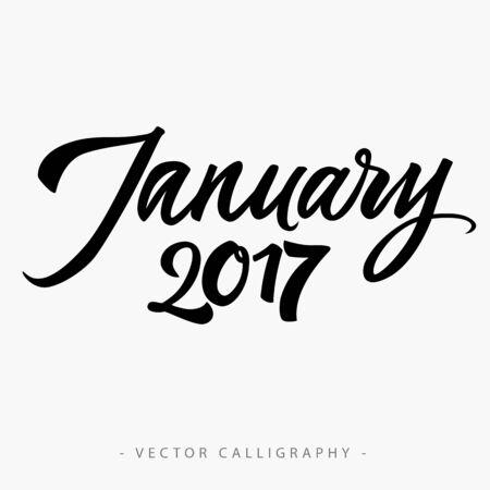 seventeen: Black calligraphic January twenty seventeen  inscription on white background Illustration