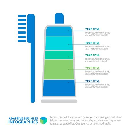 representing: Editable infographic template of diagram representing toothpaste and tooth brush with titles and sample text